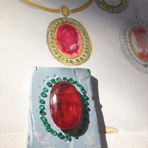 Drawing of large pendant, design process with rhodonite garnet and emeralds