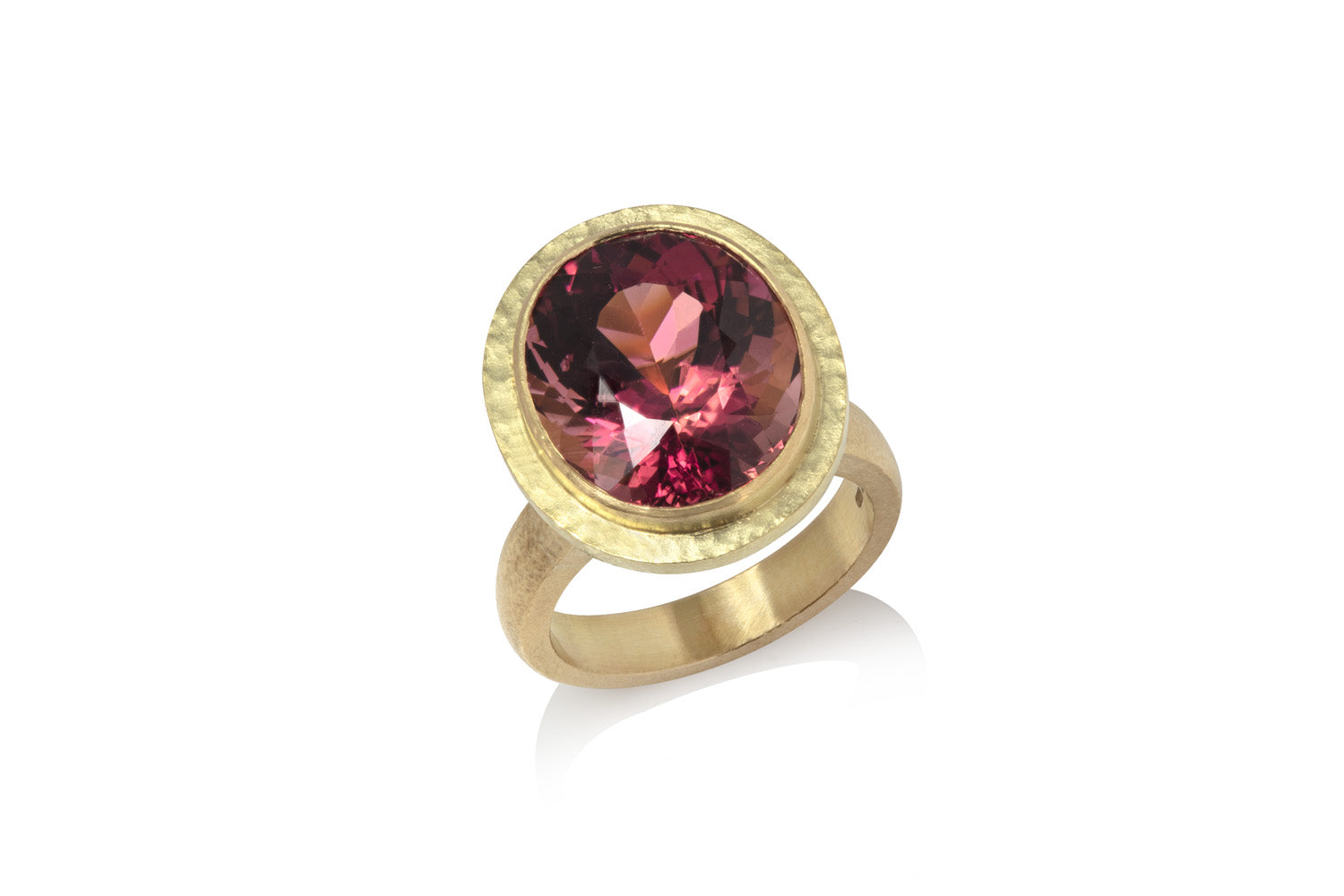 Pink tourmaline bespoke commission in hammered texture yellow gold