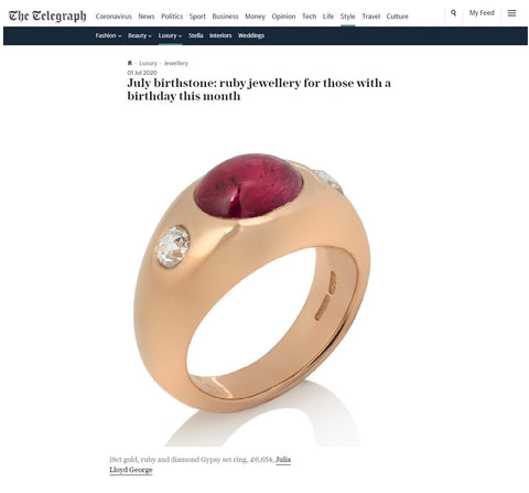 JLG gypsy set ruby and diamond ring in red gold in Telegraph Luxury