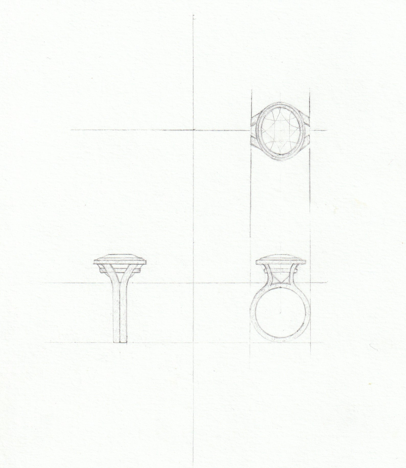Design process, sketches of proposed design for bespoke tourmaline ring