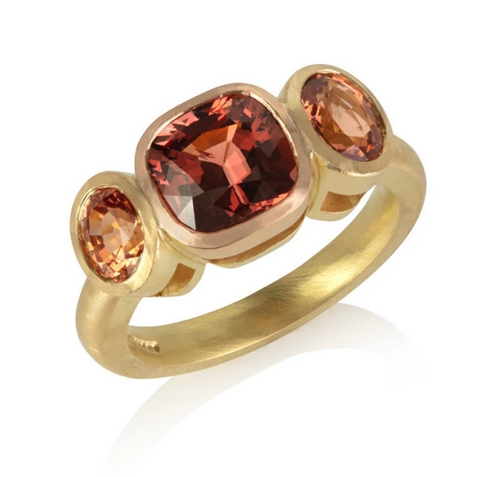 18ct yellow gold ring with malayan garnet, handmade in London