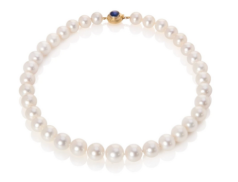 South sea pearl necklace with handmade yellow gold clasp set with sapphire cabochon