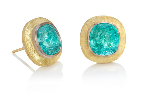 Yellow gold statement stud earrings set with large Cushion shaped Paraiba tourmalines of exceptional colour