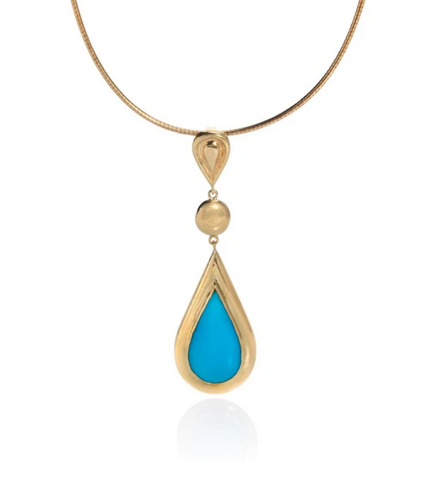 Yellow gold necklace with pear shaped turquoise drop set in wide yellow gold border