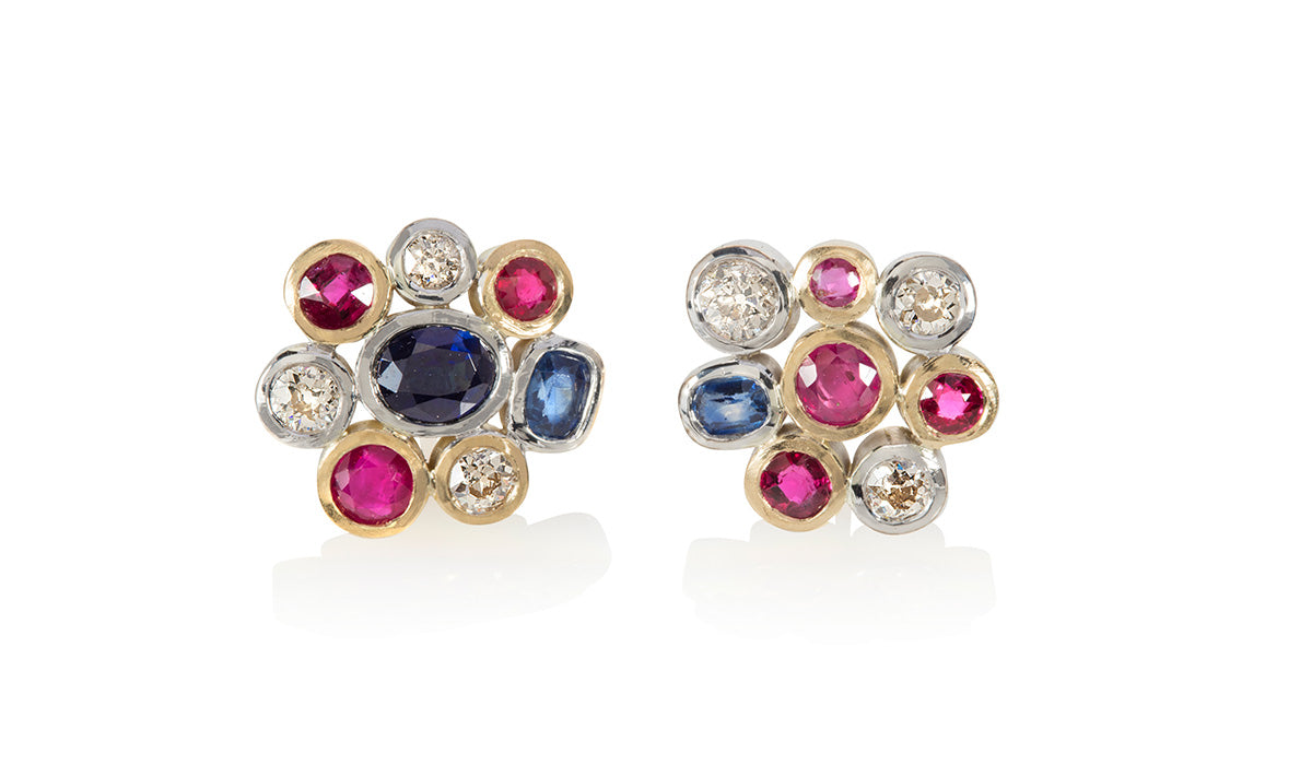 Bespoke cluster stud earrings with coloured gemstones and diamonds in yellow gold