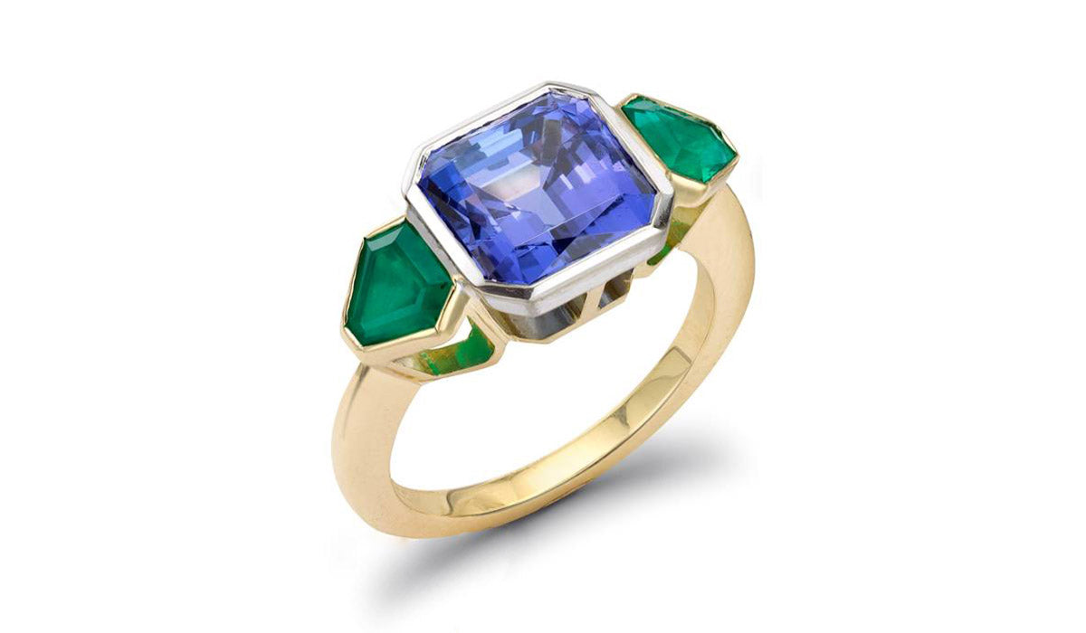 dsc ring ctw sz tanzanite ways diamond cut products trillion
