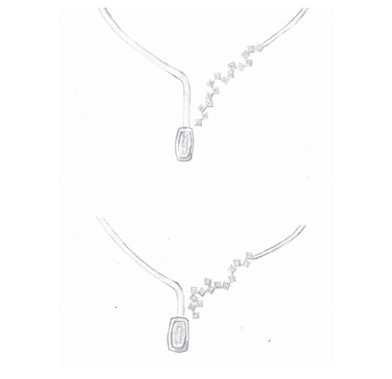 Handmade sketches design process for bespoke commission kunzite white gold and diamond necklace