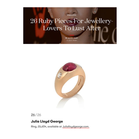 JLG gypsy set ruby and diamond red gold ring press coverage in British Vogue