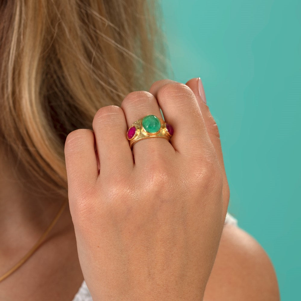 Paraiba Tourmaline And Ruby Ring