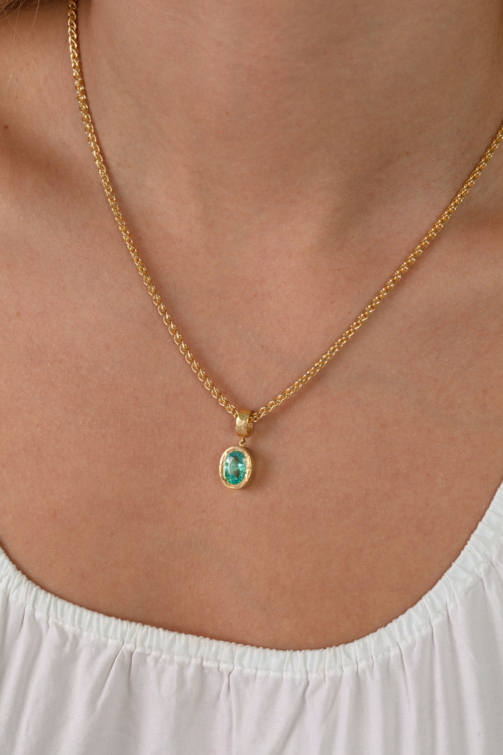 Hammered Texture Paraiba Tourmaline Necklace