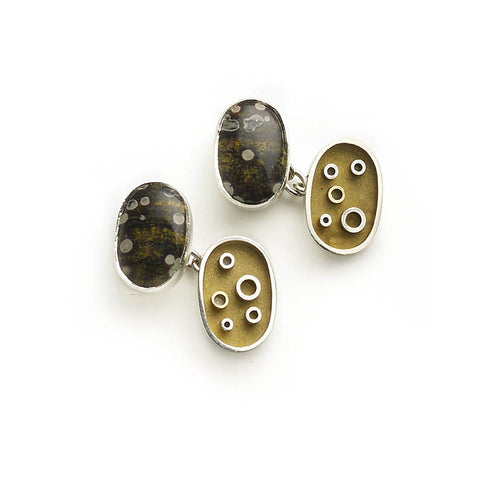 Silver and yellow gold micro-plated cufflinks set with agate on one side, with abstract pattern on other side