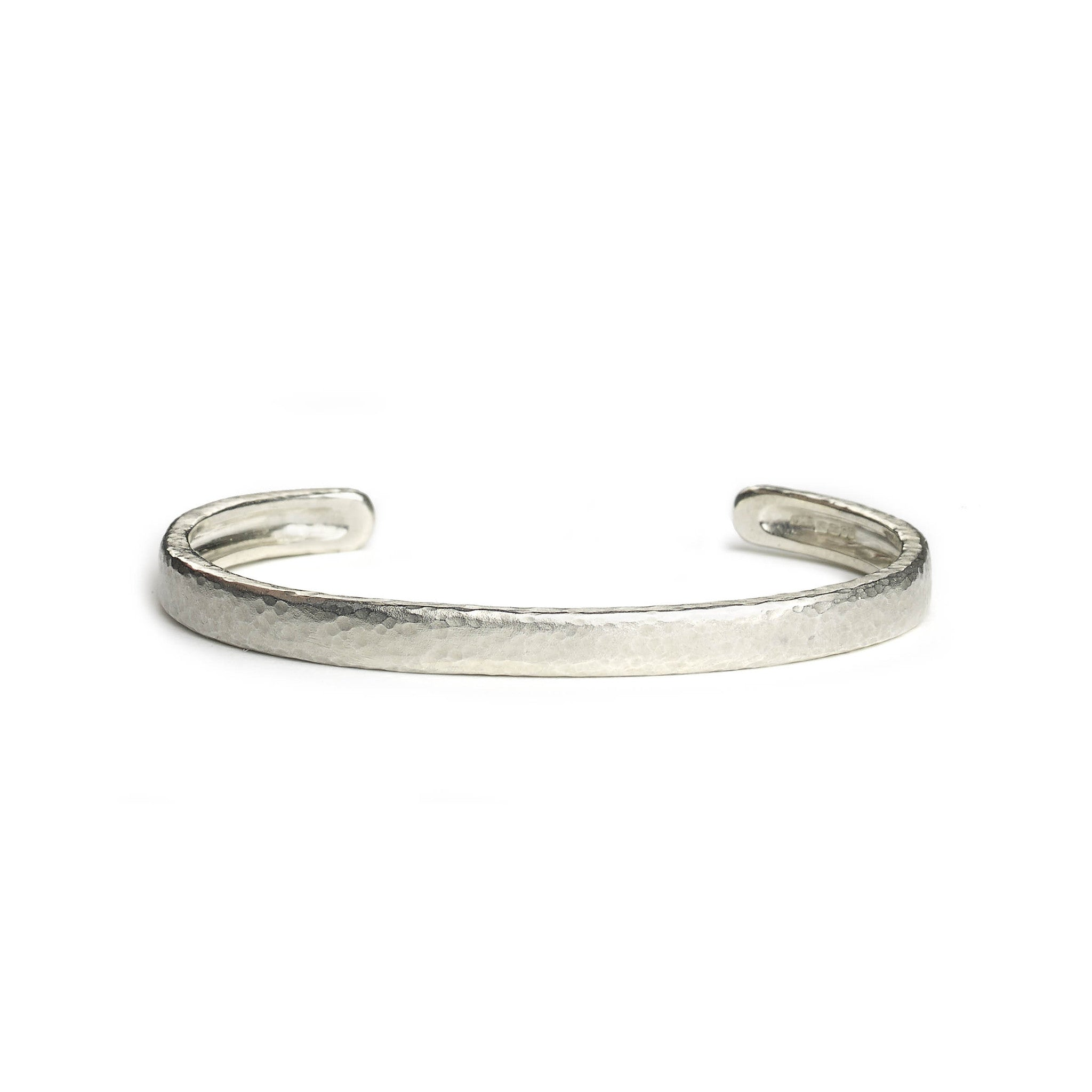 Silver hammered texture bangle