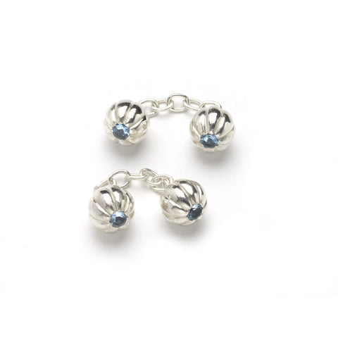 Fluted Silver Ball Cufflinks With Blue Topaz