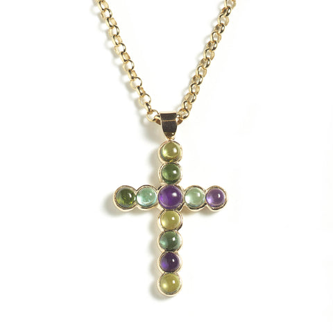 Large yellow gold cross, set with multicoloured cabochon gems, hung on yellow gold chain