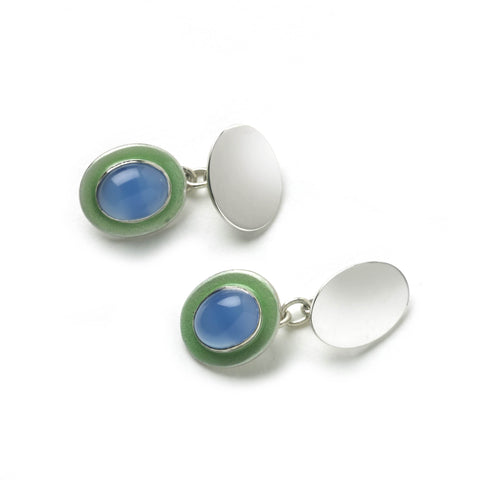 Silver cufflinks with chain link fitting, with agate stone with green enamel border