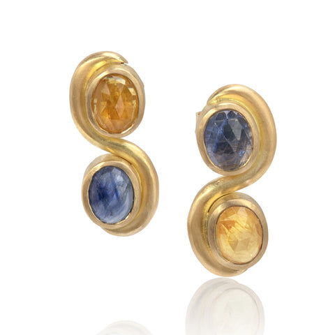 Swirl drop earrings, with blue and yellow sapphires
