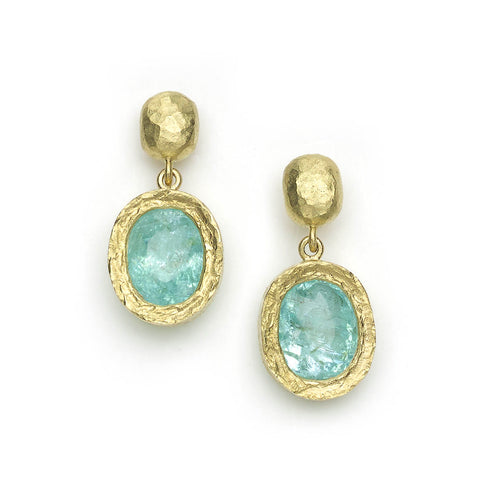 Paraiba Tourmaline and Diamond Drop Earrings