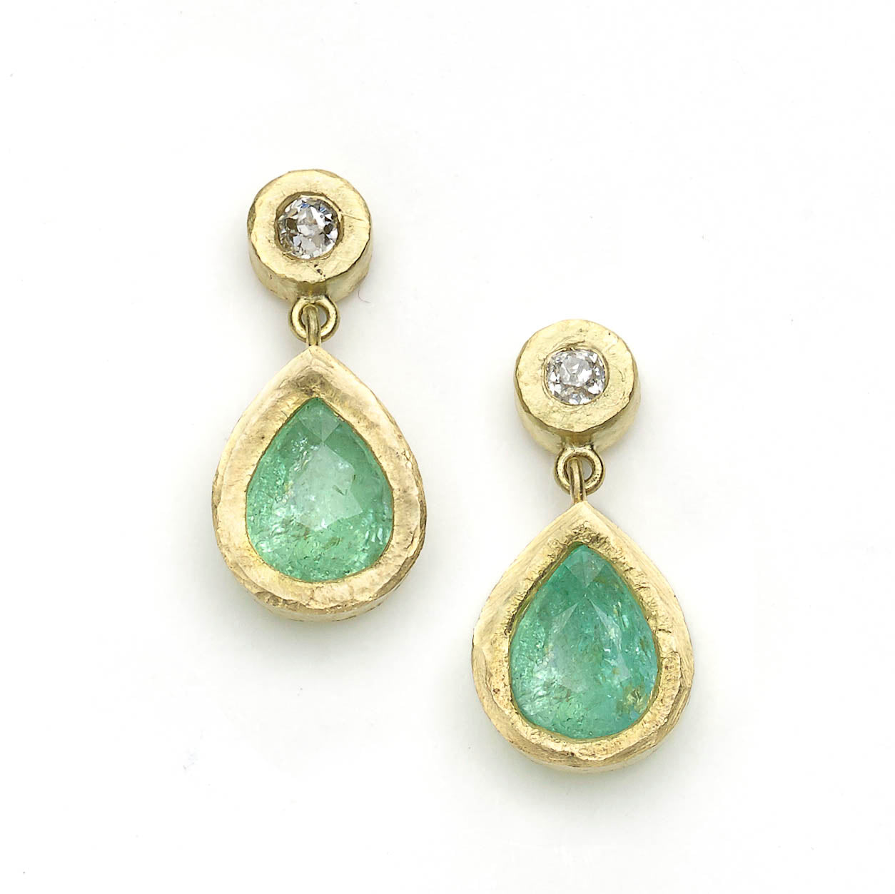 Diamond and Paraiba Tourmaline Drop Earrings