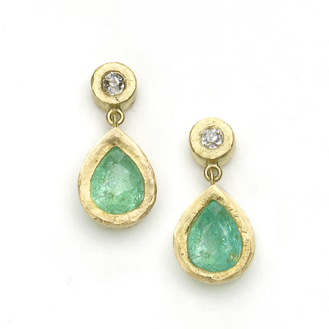 Small Diamond and Paraiba Tourmaline Drop Earrings