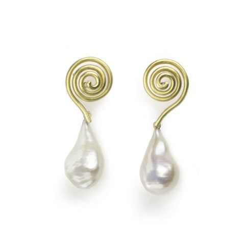 Yellow gold swirl earrings with freshwater Baroque pearl drops