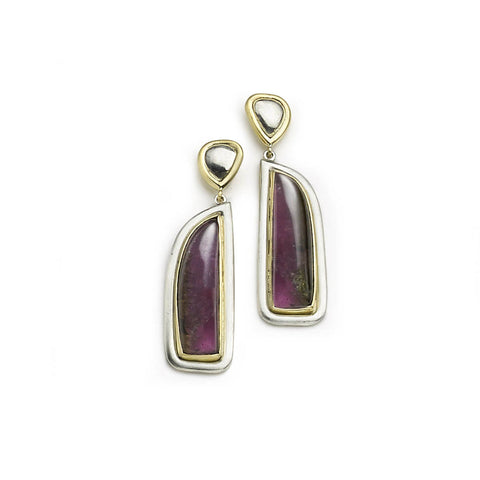 Drop earrings with long bi-coloured pink tourmalines that graduate from deep purple to pink