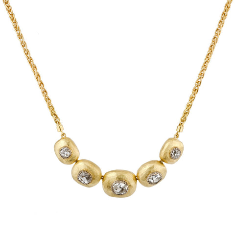 Diamond And Gold Pebble Necklace