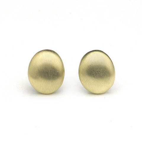 Yellow gold oval stud earrings with 'brushed' matte finish