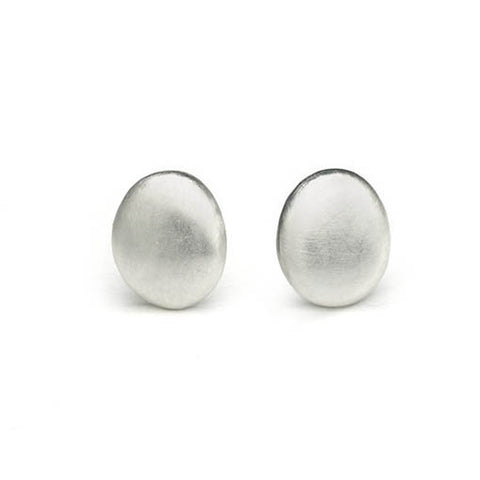 Smooth silver pebble stud earrings with smooth matte finish