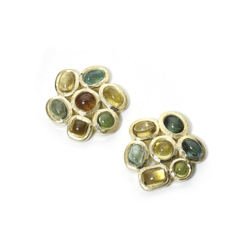 Autumnal Tourmaline Cluster Earrings