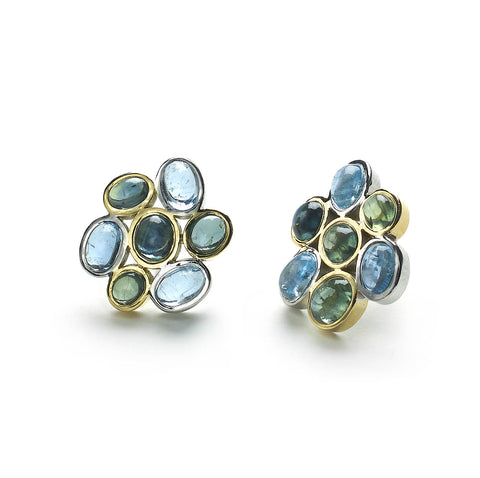 Blue & Green Cluster Earrings