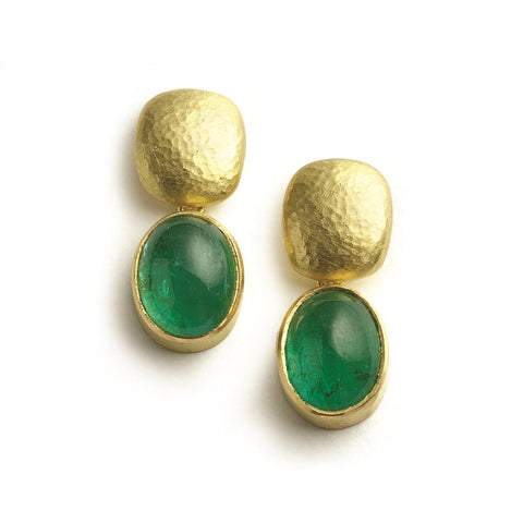 Drop earrings with large oval emerald cabohons set below hammered yellow gold tops