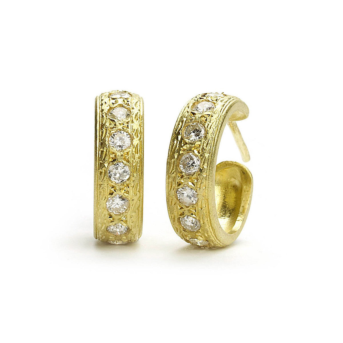 Yellow gold hoop earrings set with round cut diamonds with engraved border details