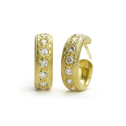 Engraved Gold Hoops With Diamonds