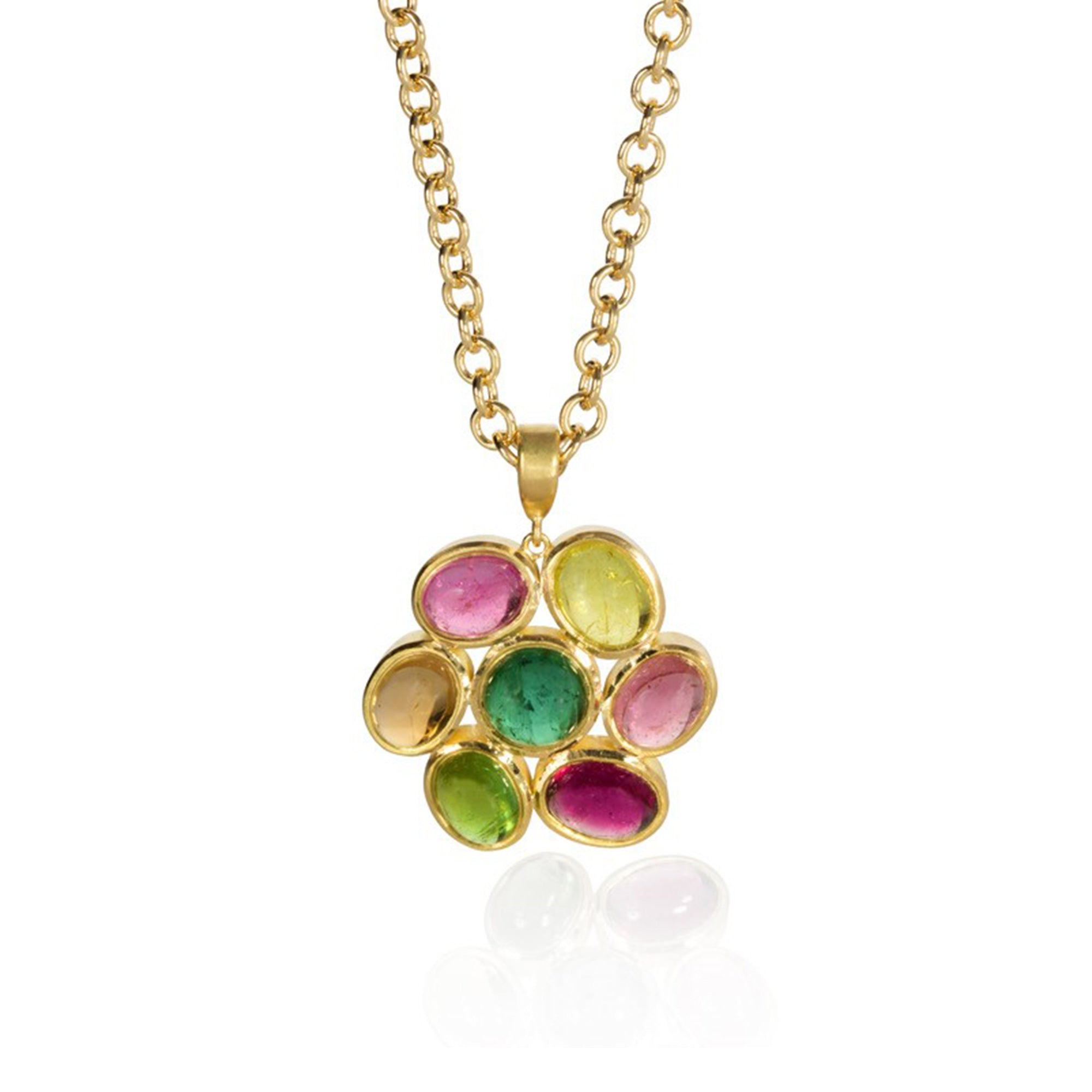 Tourmaline Flower Pendant Necklace