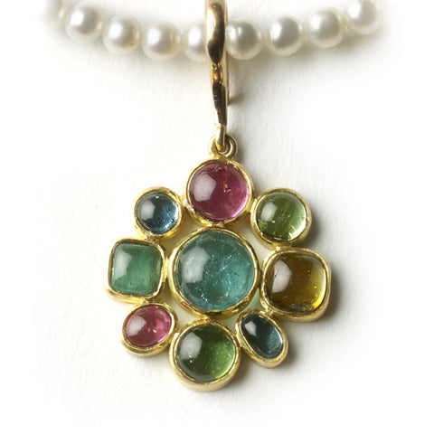 Multi Colour Gem Cross Necklace