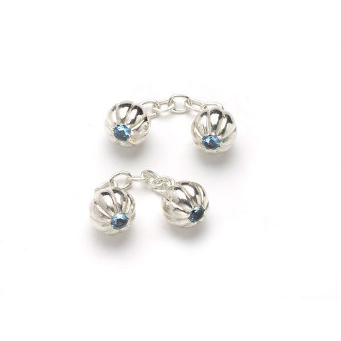 Fluted Ball Cufflinks With Sapphires