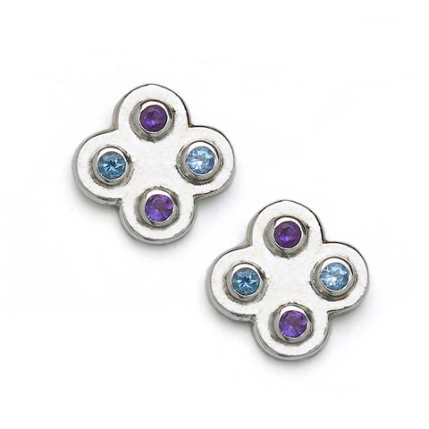 Four Leaf Clover With Blue Topaz & Amethyst