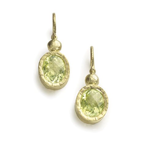 Acid green oval cut Paraiba tourmalines set in hammered texture yellow gold, drop earrings