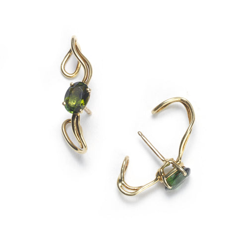 Green Tourmaline Wrap Around Earrings