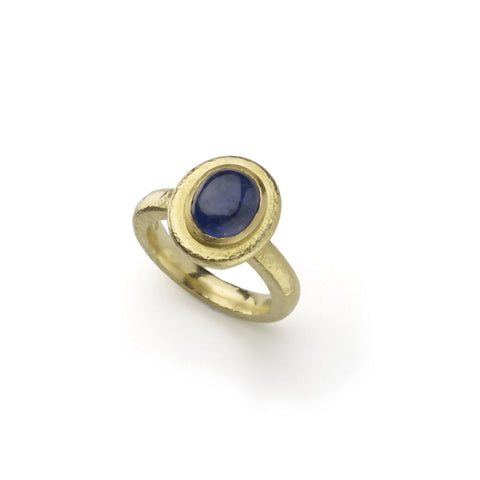Hammered Gold & Sapphire Ring