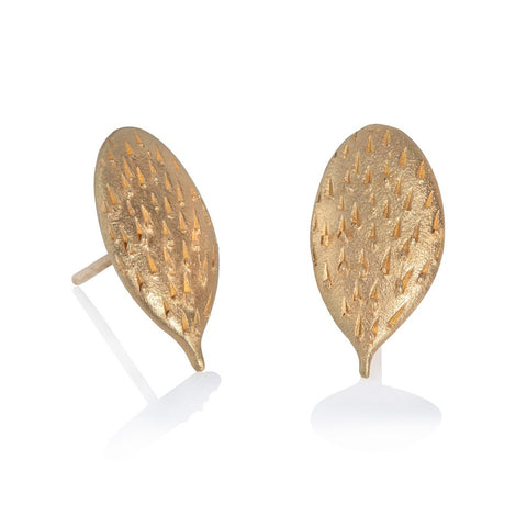 Gold textured stud earrings in cactus form