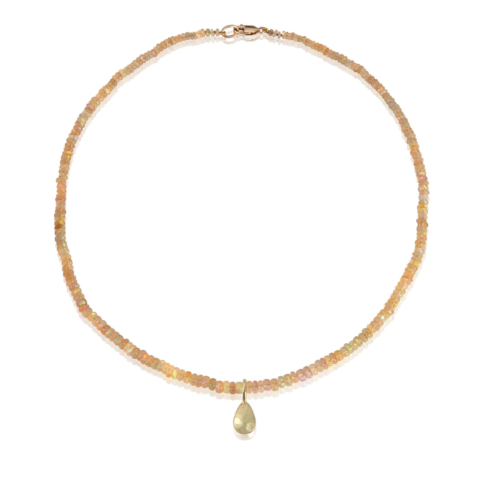 Yellow Opal bead necklace with detachable pendant