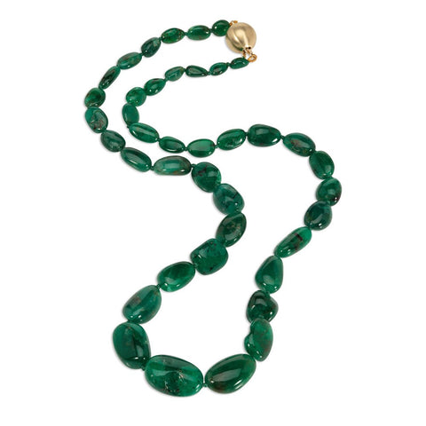 Smooth emerald bead necklace on a white background