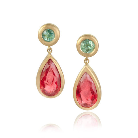 Round Paraiba tourmaline studs with large pear shaped Rhodonite garnet drops