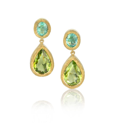 Blue Paraiba tourmaline studs, with green pear-shaped Paraiba tourmaline drops