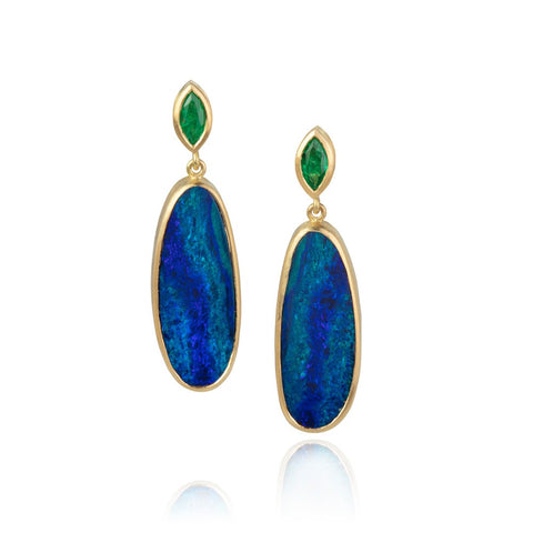 Yellow gold drop earrings with large oval opal drops below emerald marquise