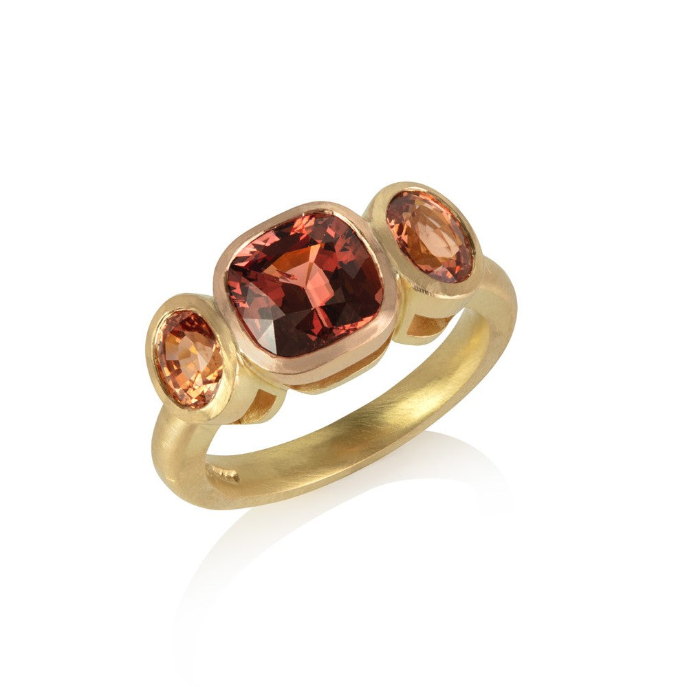Malayan Garnet and Chyrsoberyl Three Stone Ring