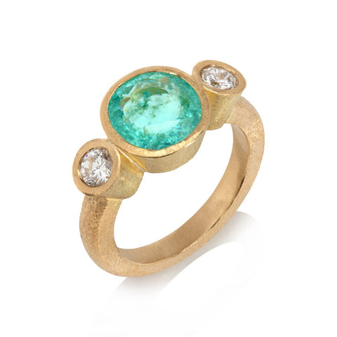 Paraiba tourmaline and diamond ring set in 18ct yellow gold