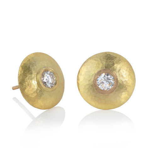 18ct yellow gold stud disk earrings with diamonds.