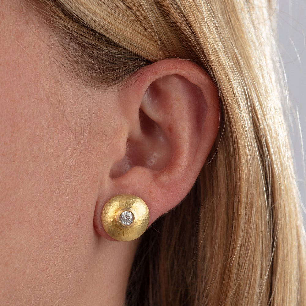 Diamond Gold Disk Studs